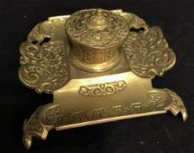 Vintage Brass Toned Metal Footed Inkwell