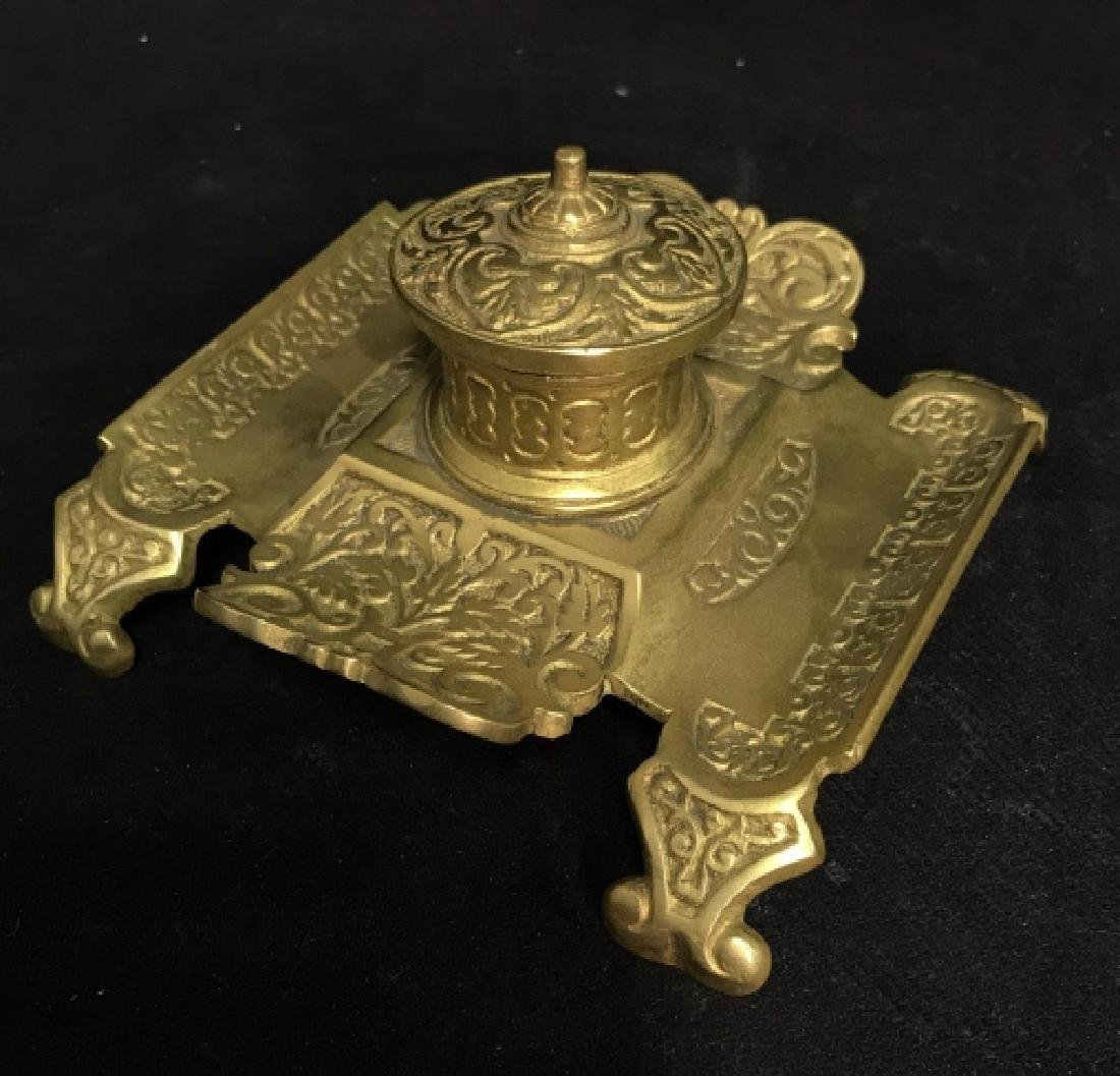 Vintage Brass Toned Metal Footed Inkwell - 2