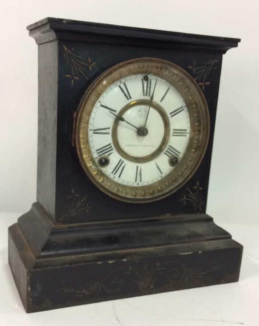 Black Iron Mantle Clock Antonia