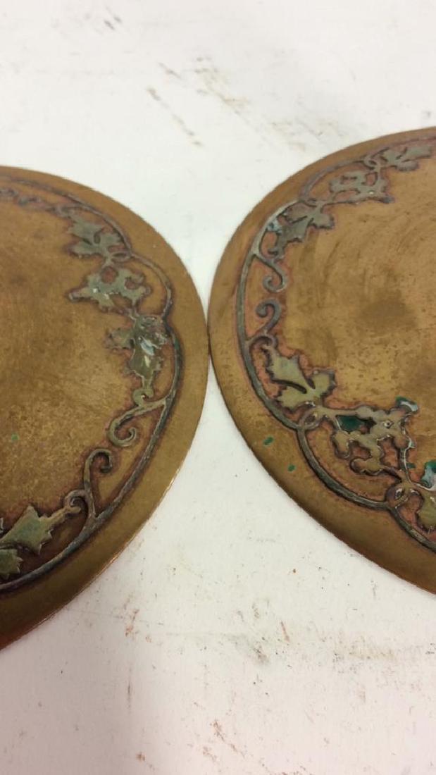 Pair Art Nouveau Copper Brass Candlesticks - 10
