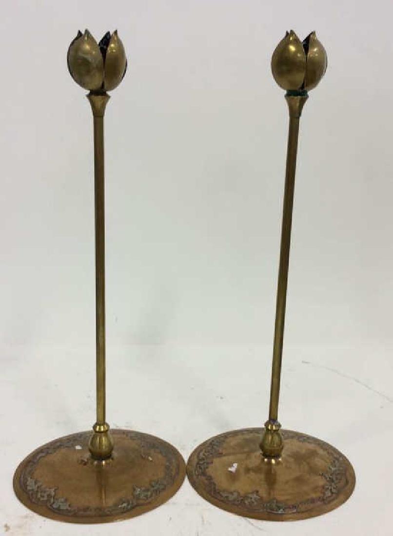 Pair Art Nouveau Copper Brass Candlesticks