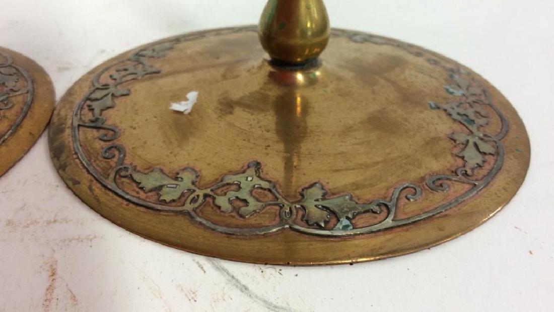 Pair Art Nouveau Copper Brass Candlesticks - 3