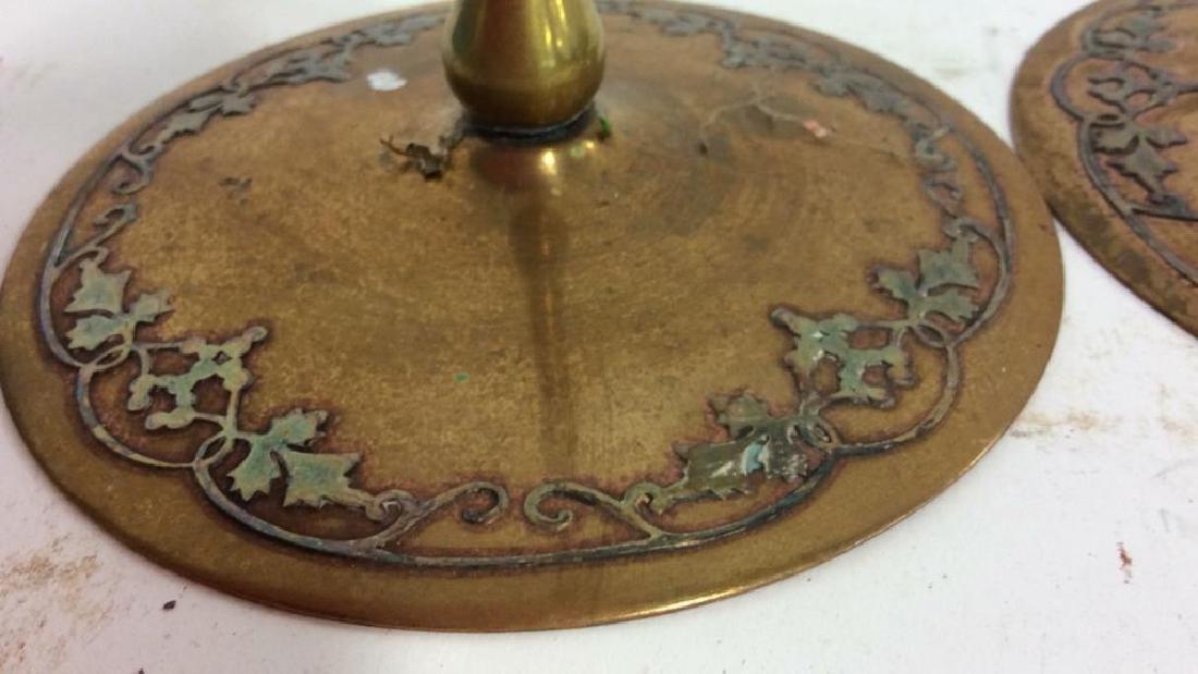 Pair Art Nouveau Copper Brass Candlesticks - 4