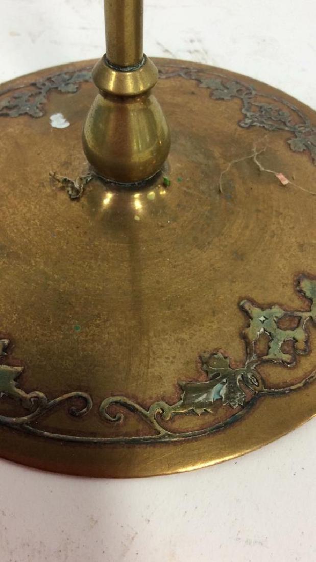 Pair Art Nouveau Copper Brass Candlesticks - 8