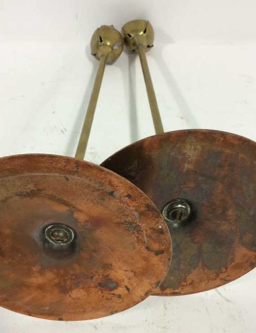 Pair Art Nouveau Copper Brass Candlesticks - 9