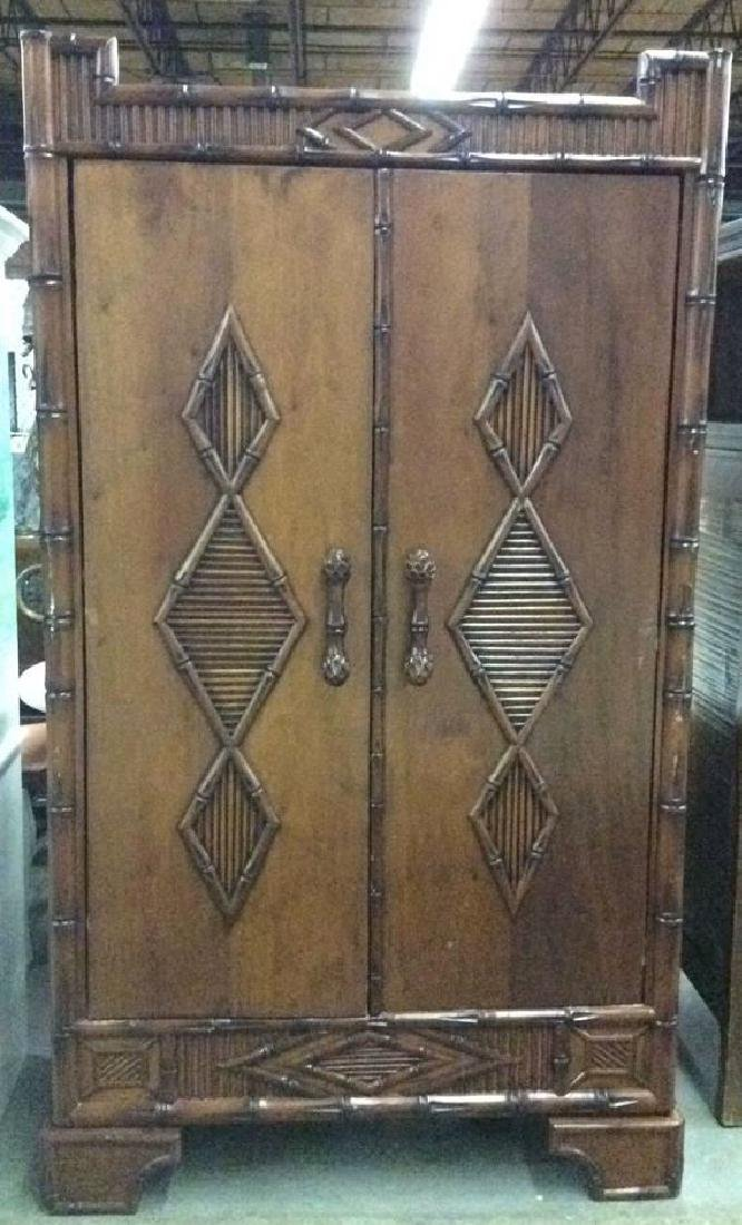 Faux Bamboo and Carved Wood  Armoire