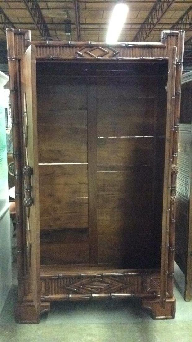 Faux Bamboo and Carved Wood  Armoire - 2