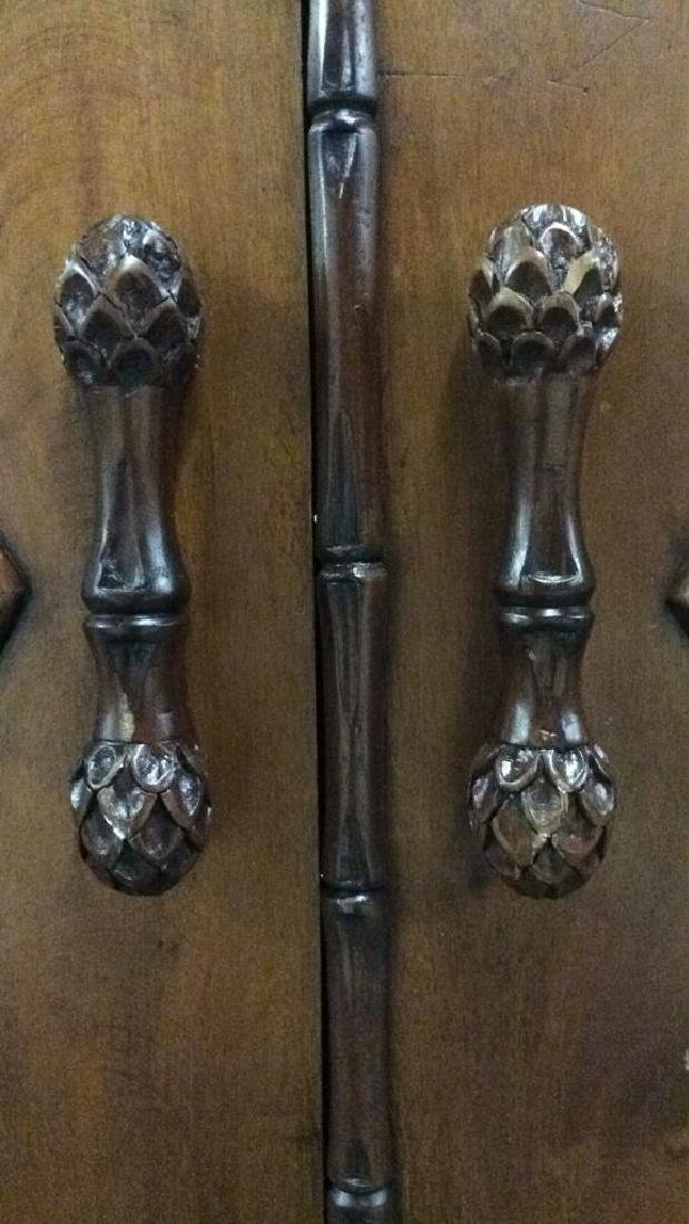 Faux Bamboo and Carved Wood  Armoire - 3