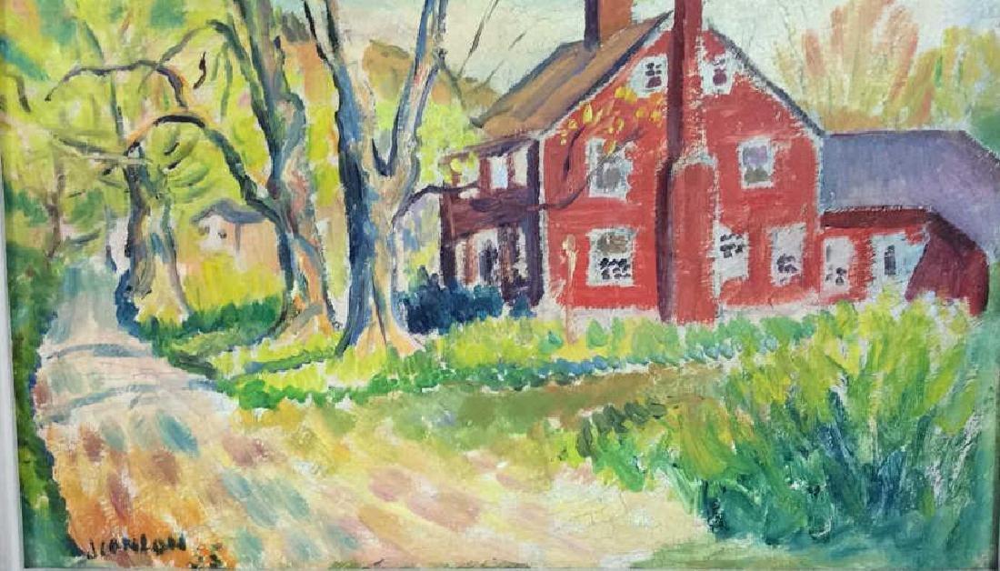 Signed Mid Century New England Barn Painting