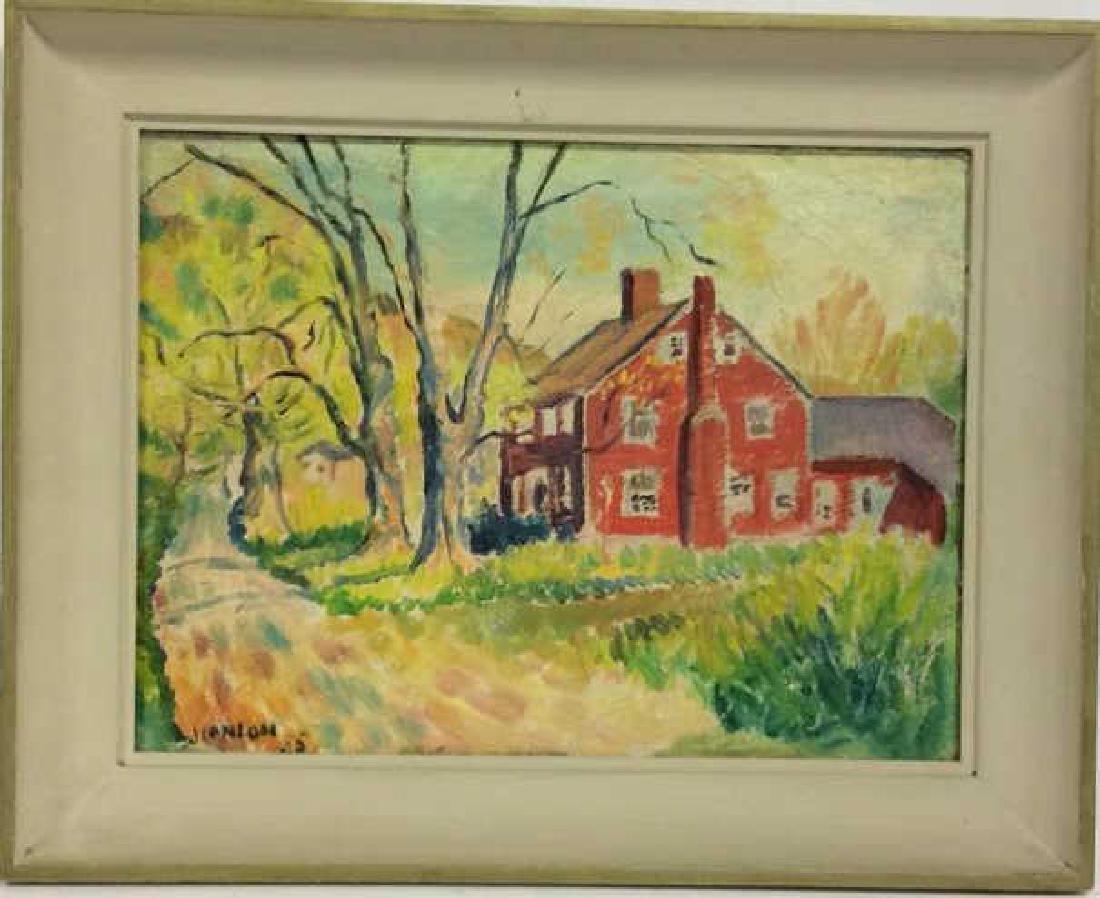 Signed Mid Century New England Barn Painting - 2