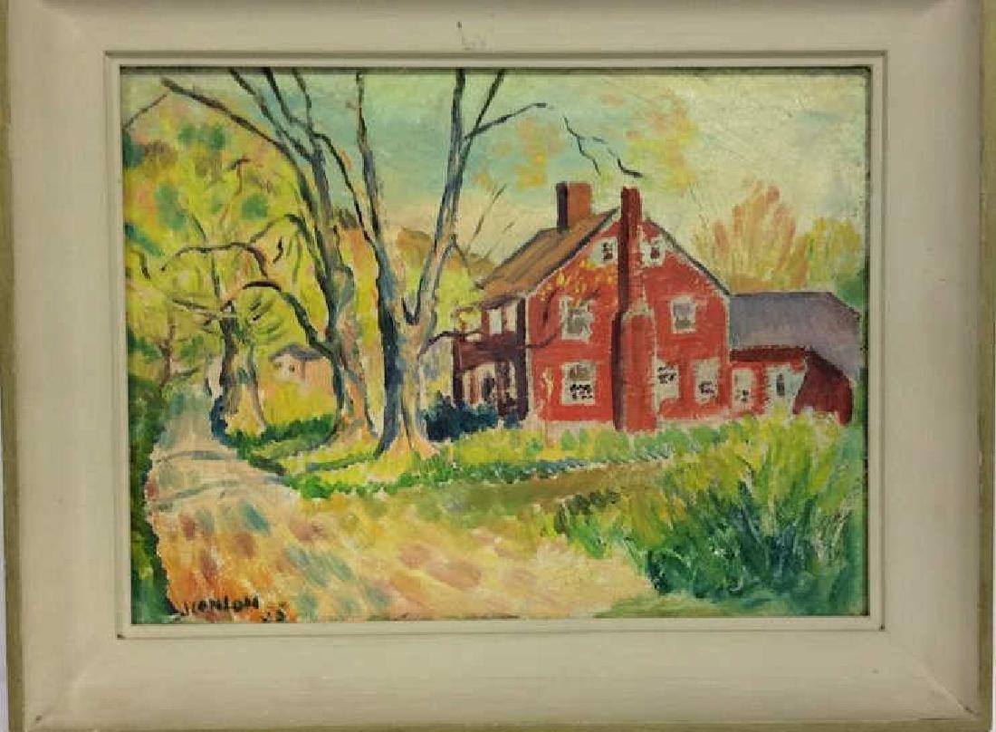 Signed Mid Century New England Barn Painting - 3