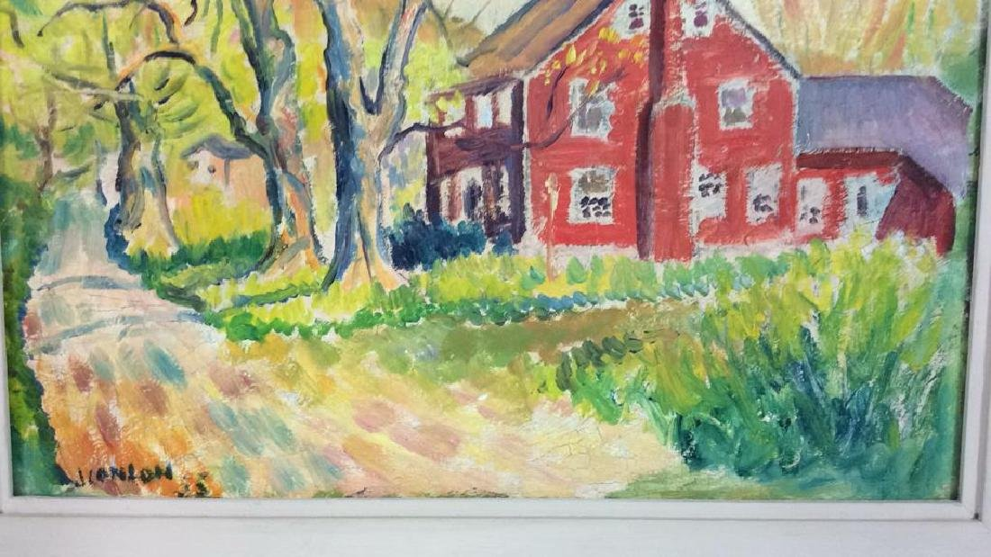 Signed Mid Century New England Barn Painting - 5
