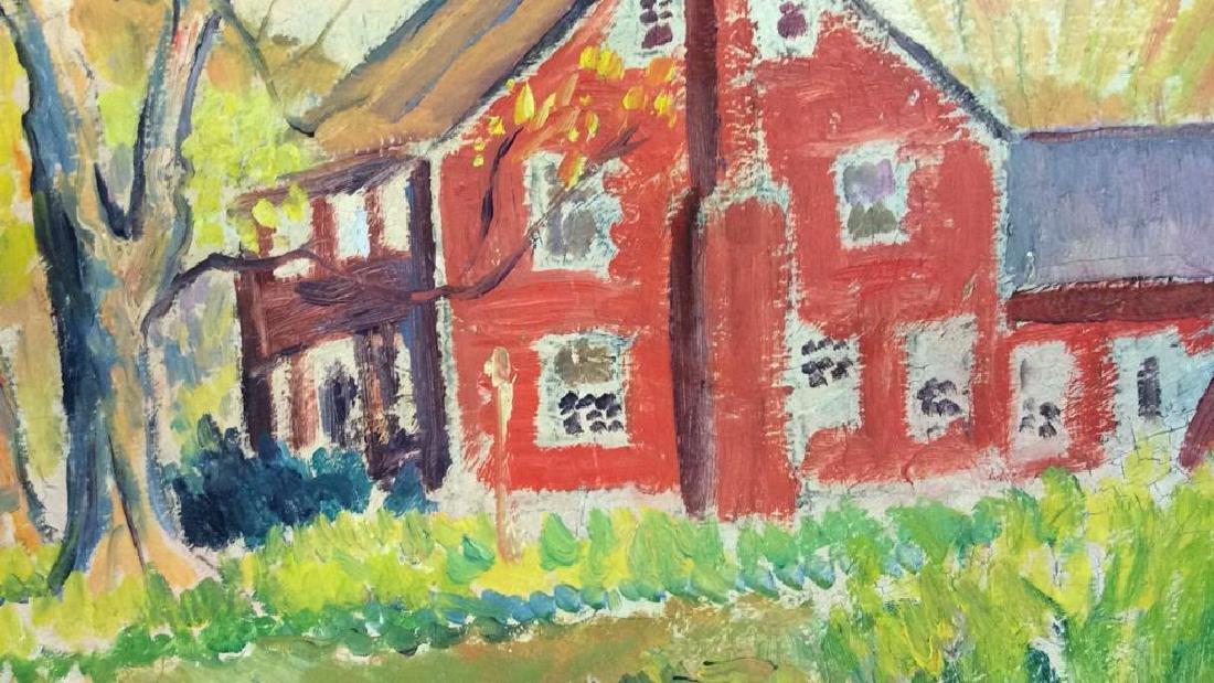 Signed Mid Century New England Barn Painting - 6