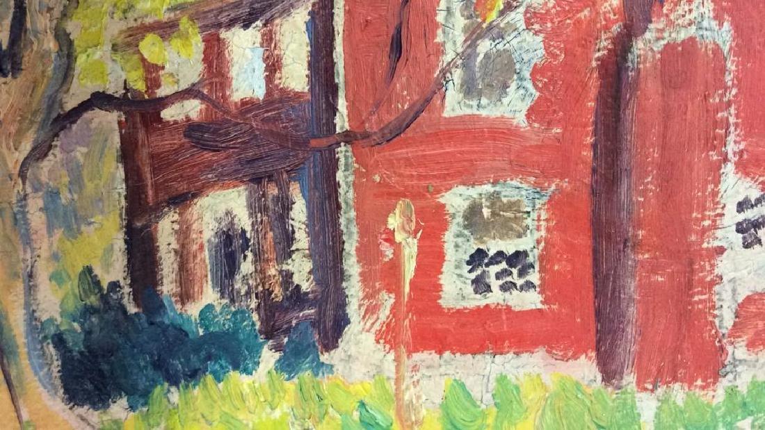 Signed Mid Century New England Barn Painting - 7