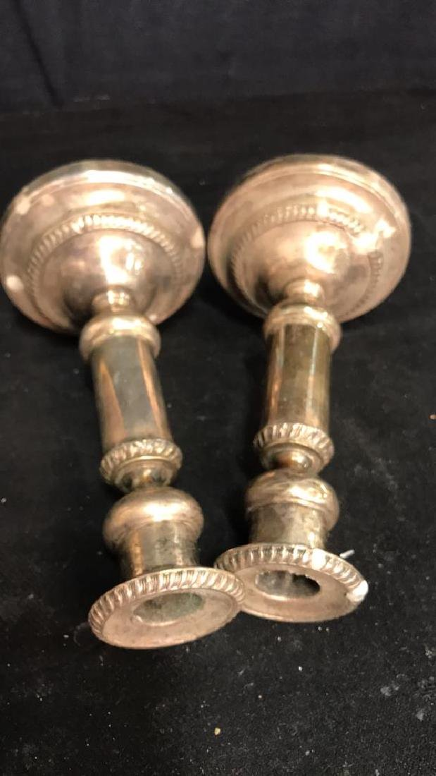 Pair of Silver Plate Candle Sticks - 6