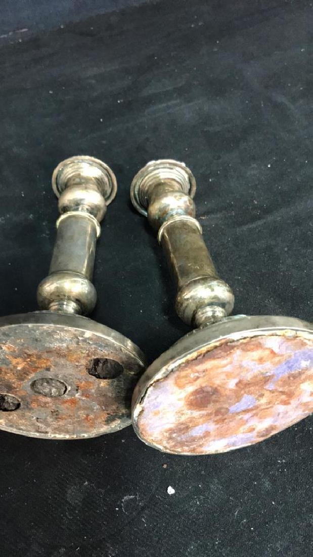 Pair of Silver Plate Candle Sticks - 8