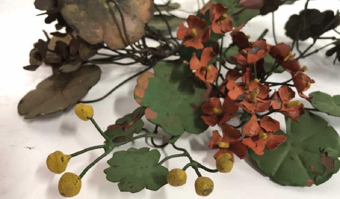 Group Lot Vintage Painted Metal Flower Bouquets