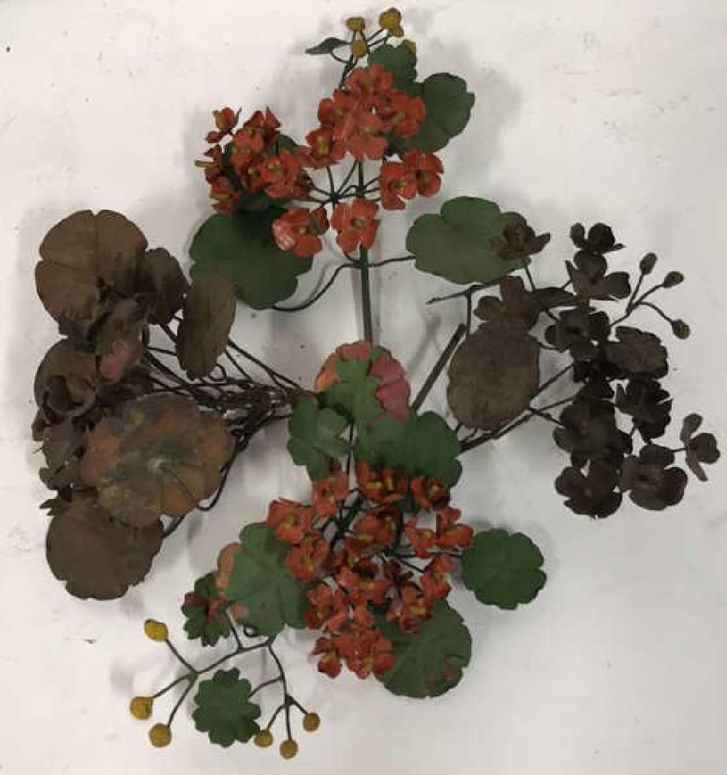 Group Lot Vintage Painted Metal Flower Bouquets - 2