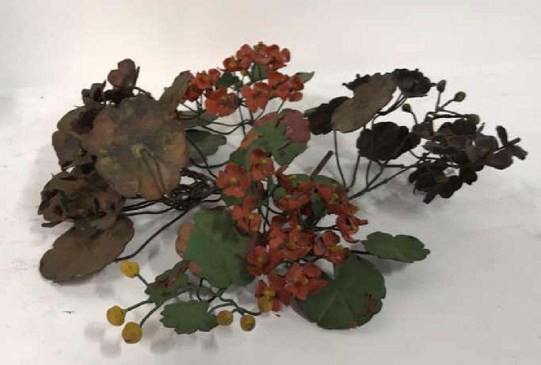 Group Lot Vintage Painted Metal Flower Bouquets - 3