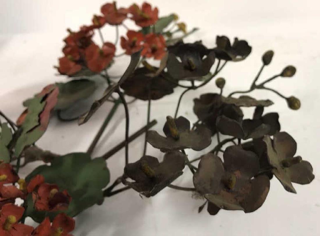 Group Lot Vintage Painted Metal Flower Bouquets - 5