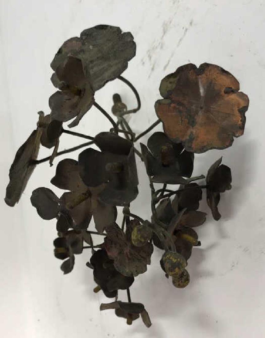 Group Lot Vintage Painted Metal Flower Bouquets - 6