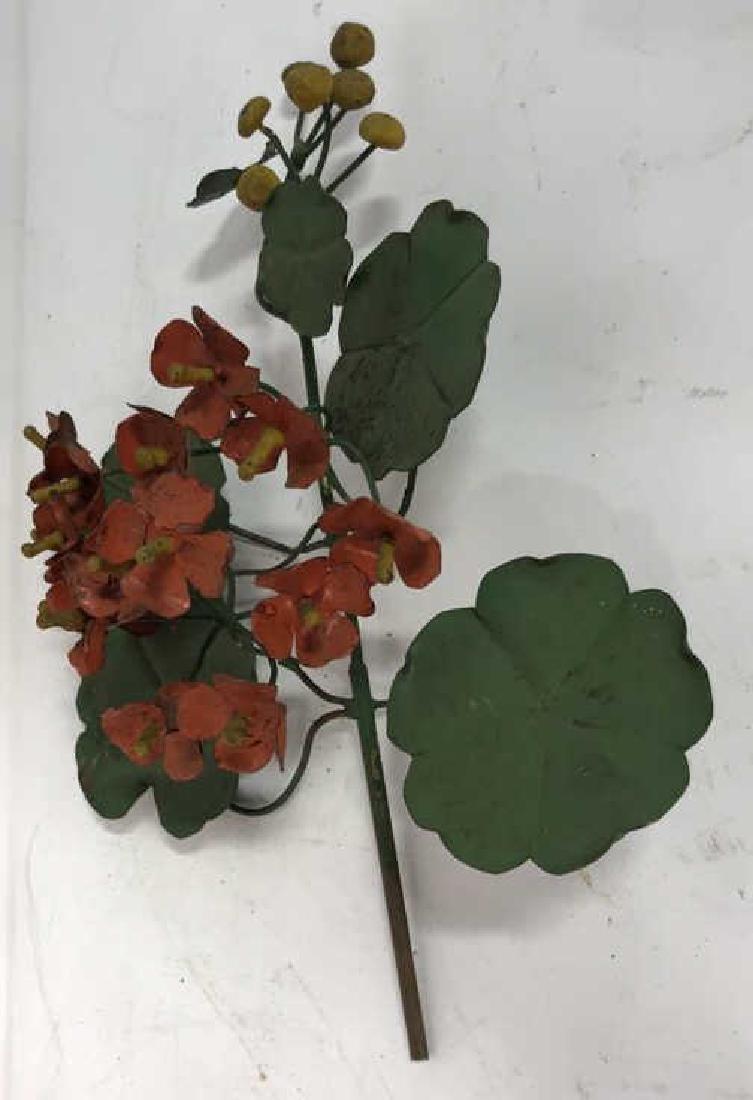 Group Lot Vintage Painted Metal Flower Bouquets - 7