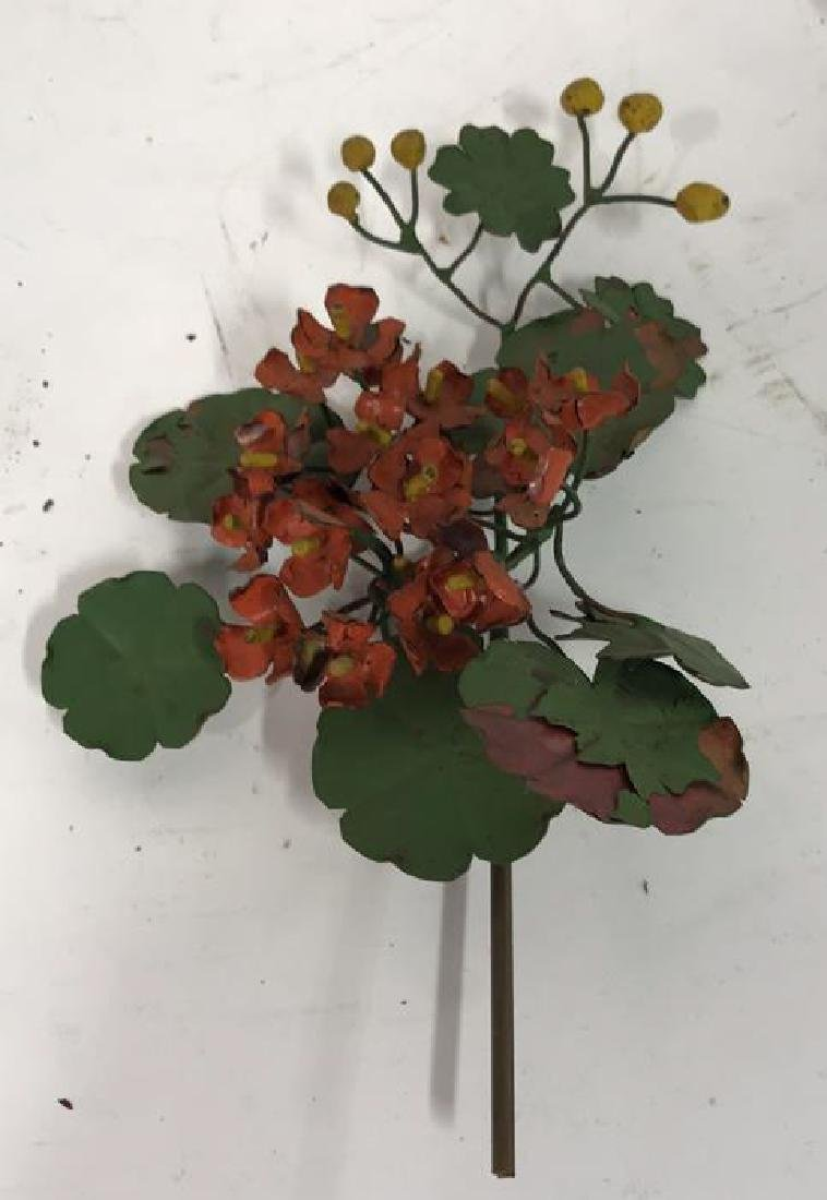 Group Lot Vintage Painted Metal Flower Bouquets - 9