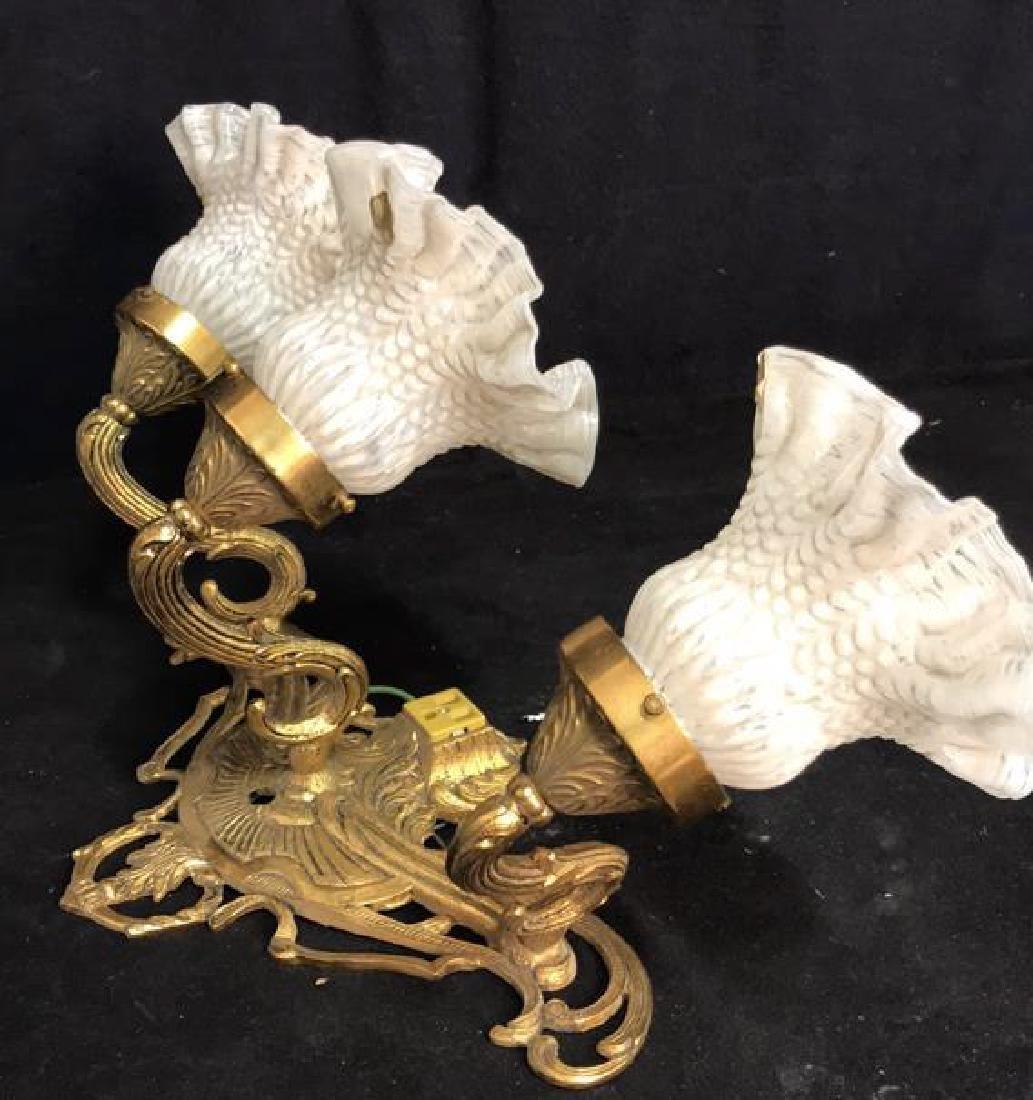 Vintage 3 Light Brass Glass Bathroom Fixture - 10