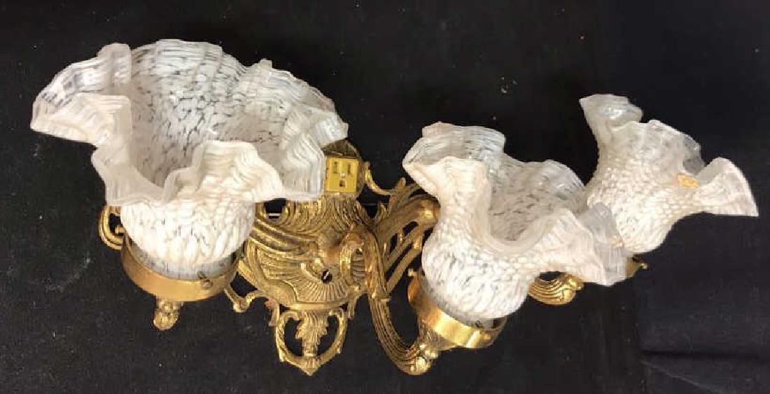 Vintage 3 Light Brass Glass Bathroom Fixture - 4