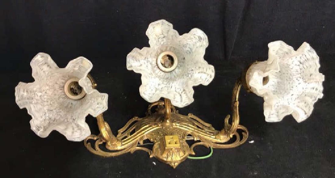 Vintage 3 Light Brass Glass Bathroom Fixture - 5