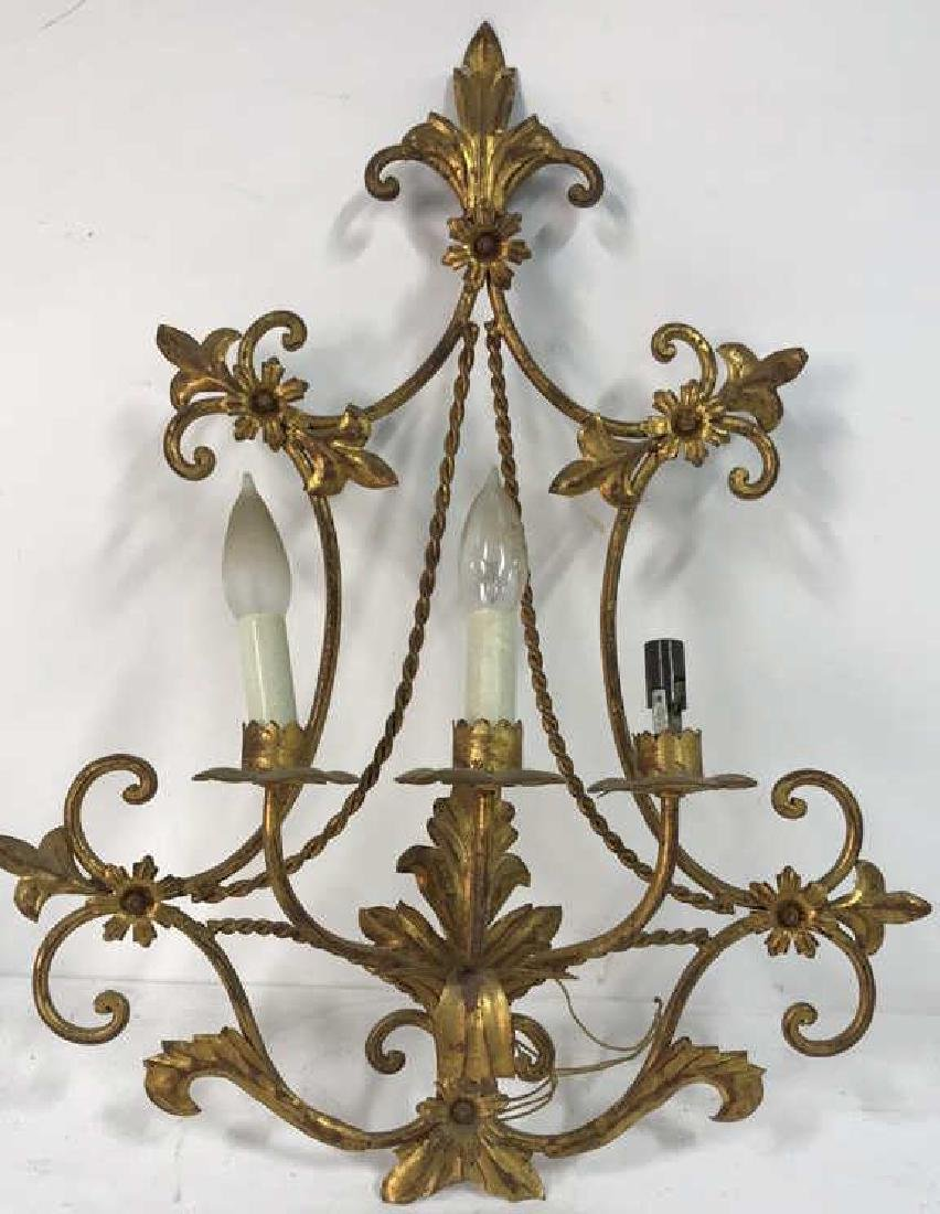 Gilt Metal Scrolled 3 Light French Sconce
