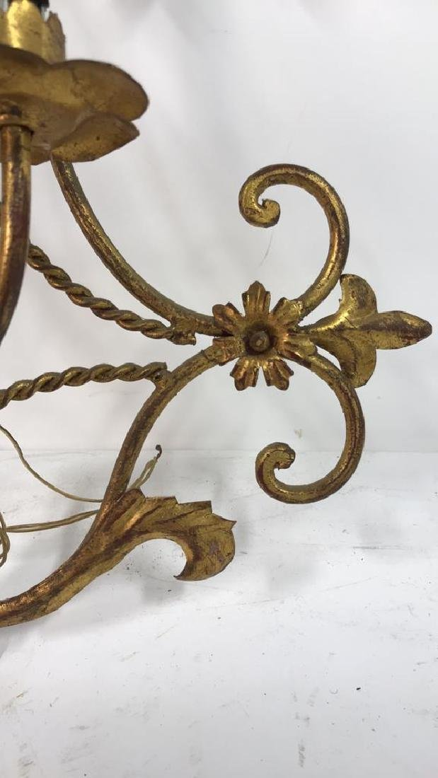 Gilt Metal Scrolled 3 Light French Sconce - 3