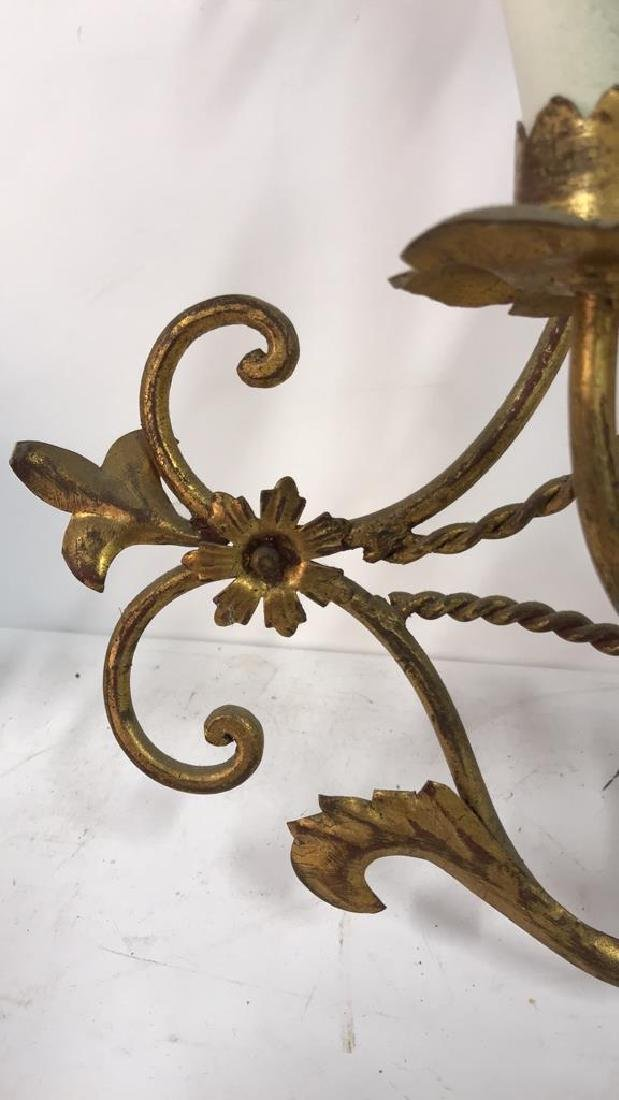 Gilt Metal Scrolled 3 Light French Sconce - 4