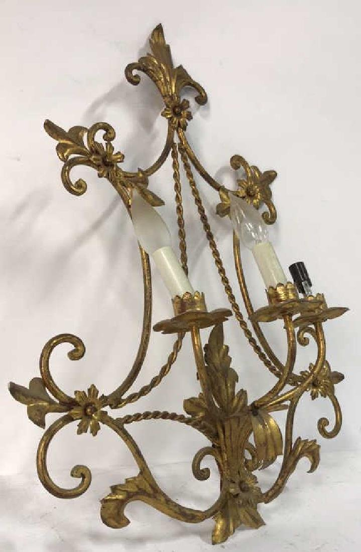 Gilt Metal Scrolled 3 Light French Sconce - 8