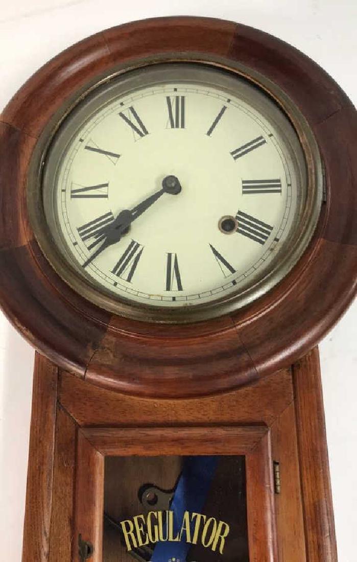 Wood Framed Wall Mount Regulator Clock