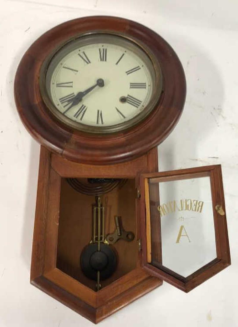 Wood Framed Wall Mount Regulator Clock - 2