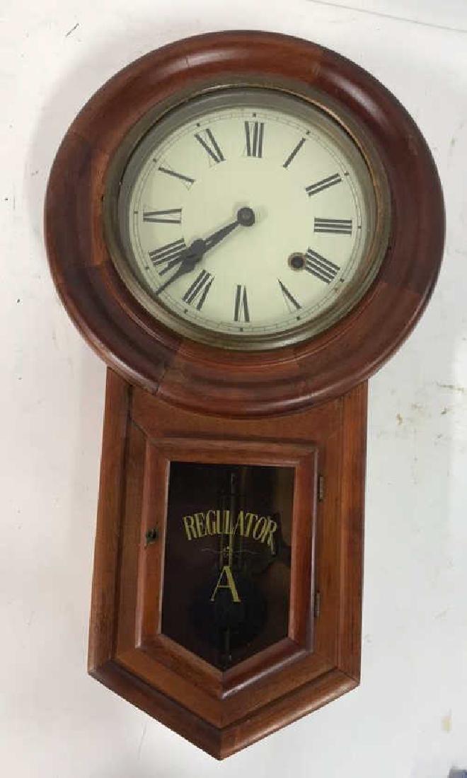 Wood Framed Wall Mount Regulator Clock - 5