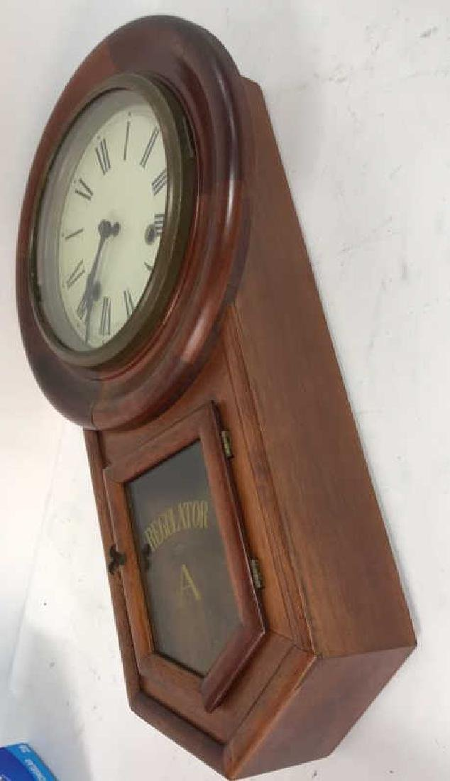 Wood Framed Wall Mount Regulator Clock - 7