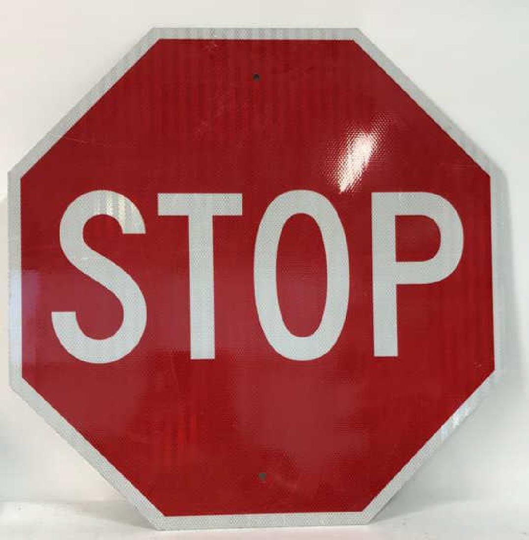 Red and White Metal STOP Sign Art