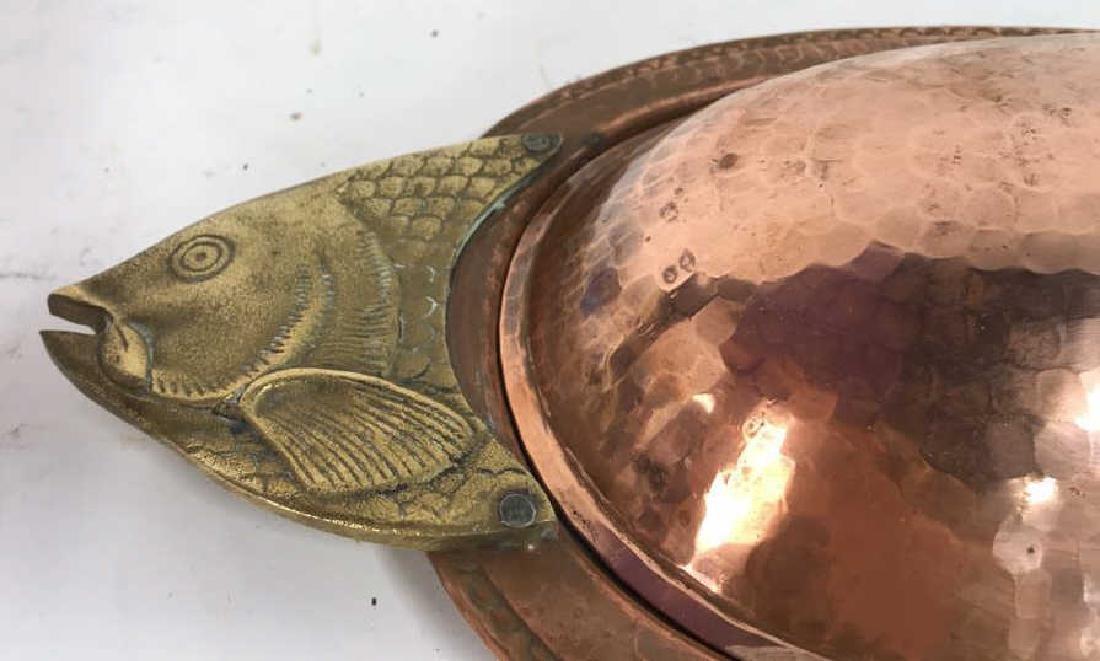 Hand Hammered Copper Lidded Fish Serving Platter