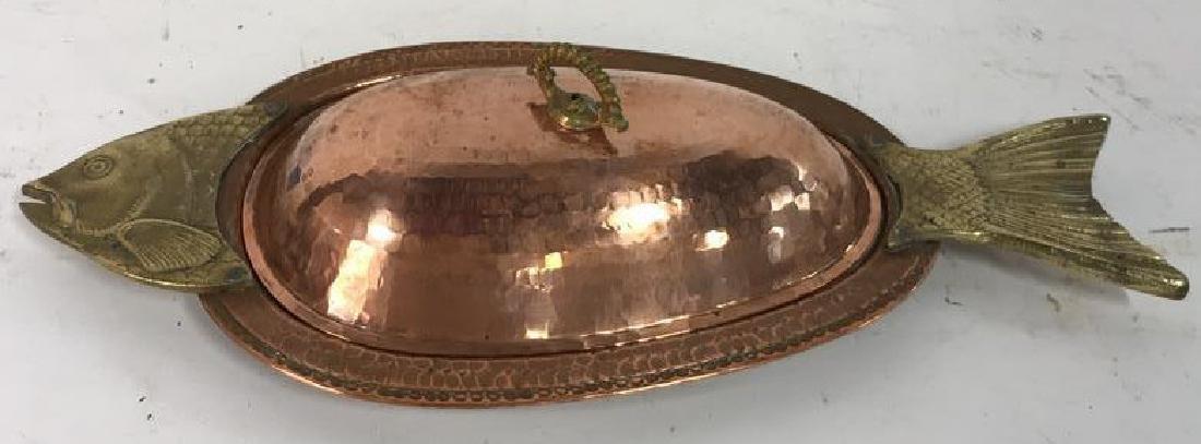 Hand Hammered Copper Lidded Fish Serving Platter - 2