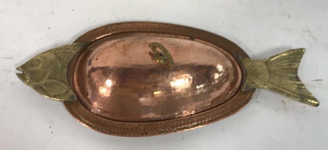 Hand Hammered Copper Lidded Fish Serving Platter - 3