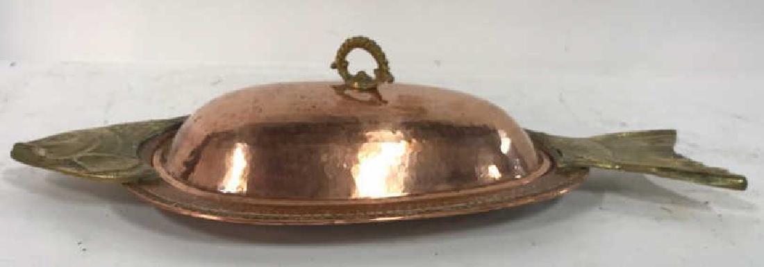 Hand Hammered Copper Lidded Fish Serving Platter - 4