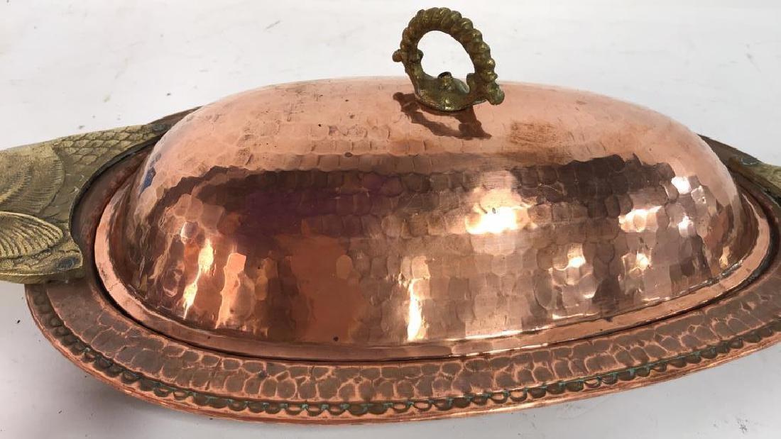 Hand Hammered Copper Lidded Fish Serving Platter - 5