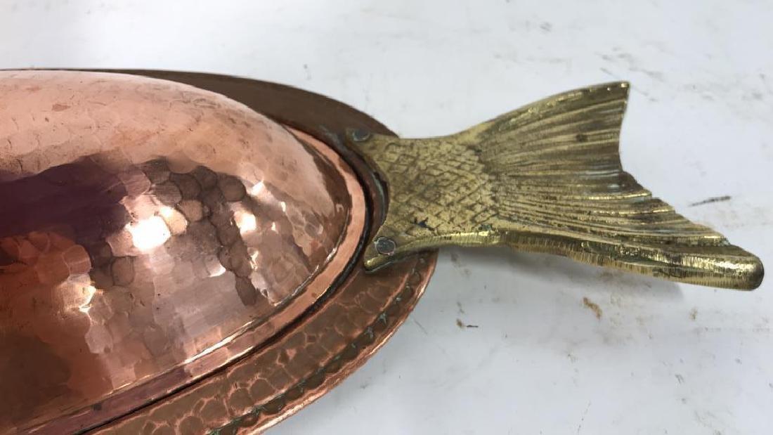 Hand Hammered Copper Lidded Fish Serving Platter - 6
