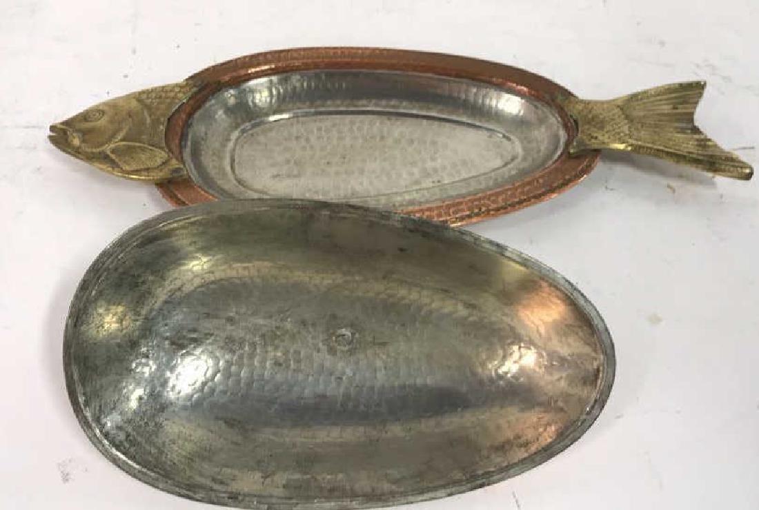 Hand Hammered Copper Lidded Fish Serving Platter - 7