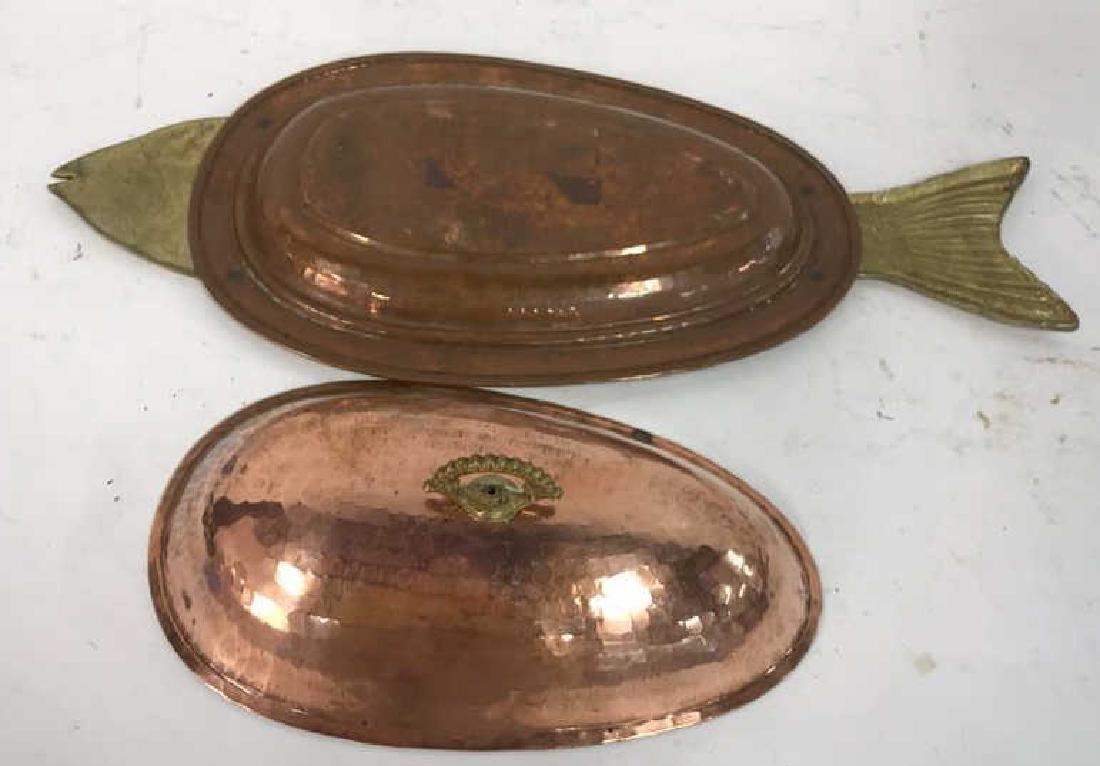 Hand Hammered Copper Lidded Fish Serving Platter - 8