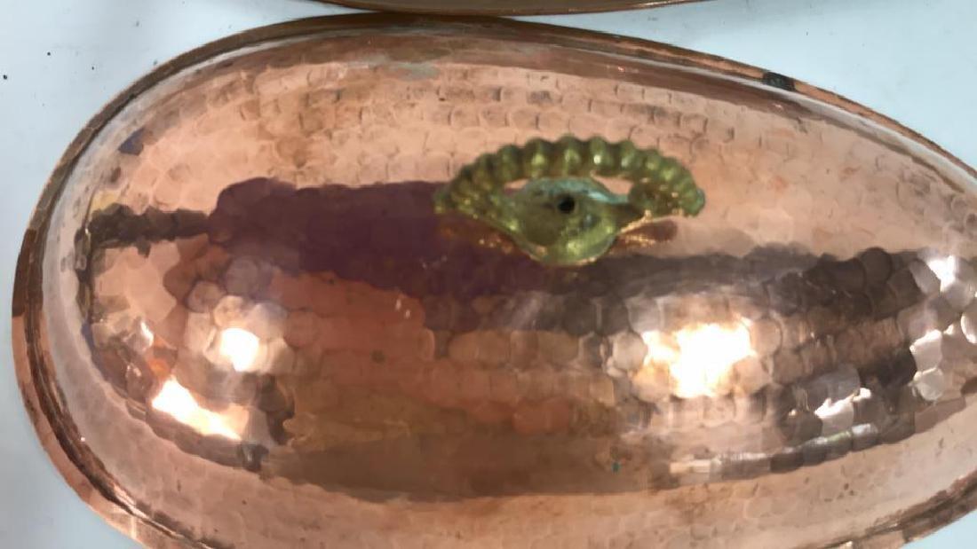Hand Hammered Copper Lidded Fish Serving Platter - 9