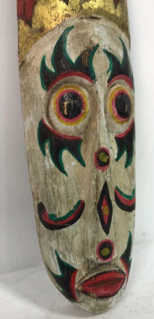 Tribal Style Carved Painted Mask - 4