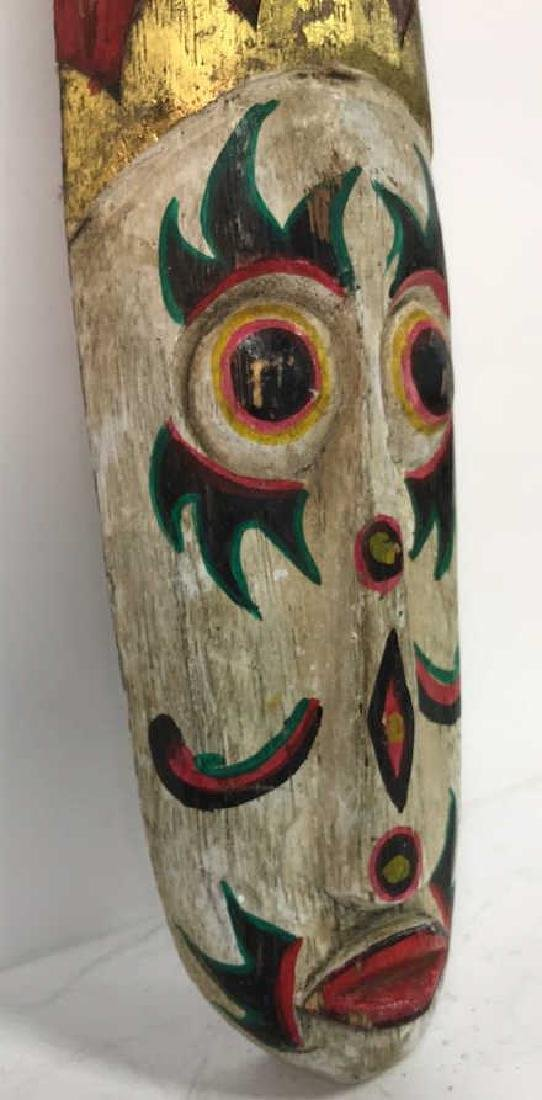Tribal Style Carved Painted Mask - 5